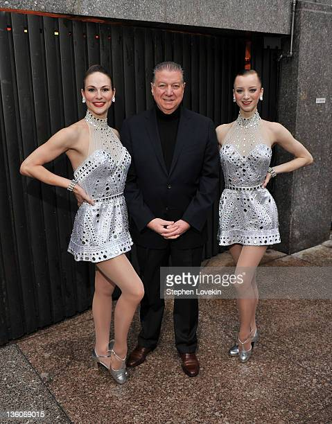 Rockette Rhonda Kaufman Malkin Patina Restaurant Group CEO Nick Valenti and Rockette Karen Ritchie attend the 75th anniversary of the Rink at...