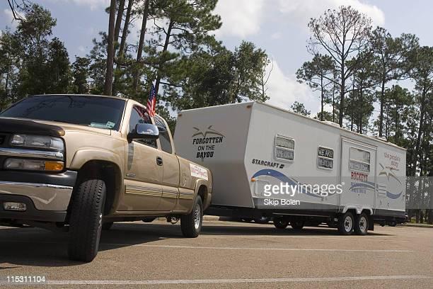 Rockey Vaccarella's FEMA trailer in a Mississippi Rest Area