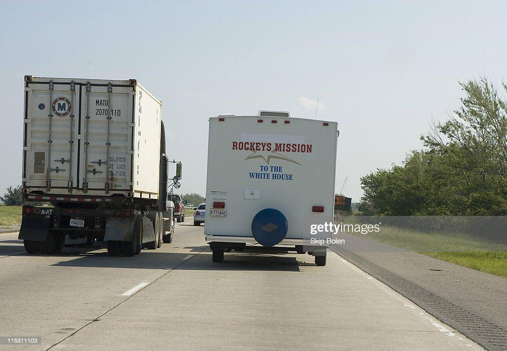 Rockey Vaccarella's FEMA trailer on the Freeway heading