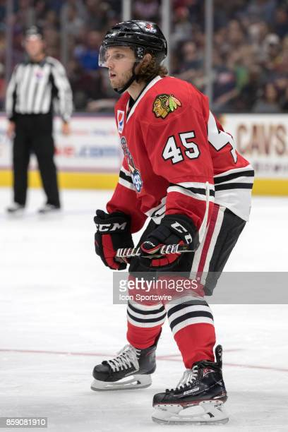 Rockford IceHogs C Anthony Louis on the ice during the second period of the AHL hockey game between the Rockford IceHogs and Cleveland Monsters on...