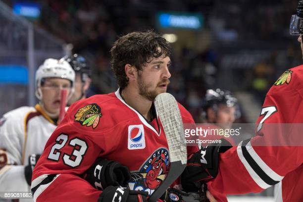 Rockford IceHogs C Vinnie Hinostroza on the ice during the second period of the AHL hockey game between the Rockford IceHogs and Cleveland Monsters...