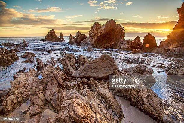 rockformation at sunset - newport beach stock pictures, royalty-free photos & images