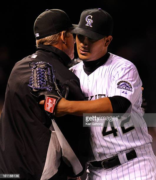 Rockies manager Jim Tracy shared his thoughts with winning pitcher Jhoulys Chacin after the game The Colorado Rockies blanked the Chicago Cubs 50...