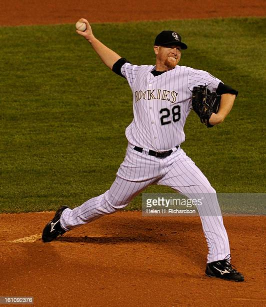Rockies pitcher Aaron Cook delivers a pitch in the second inning of game four of the World Series between the Colorado Rockies and Boston Red Sox at...