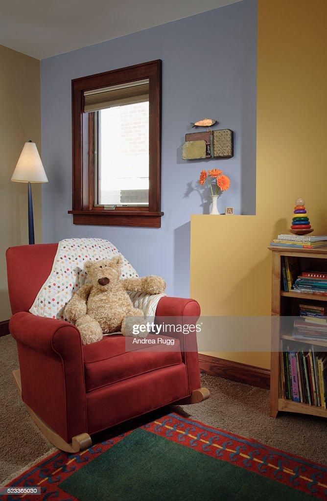 Peachy Rocking Chair In Corner Of Childrens Room Stock Photo Download Free Architecture Designs Rallybritishbridgeorg