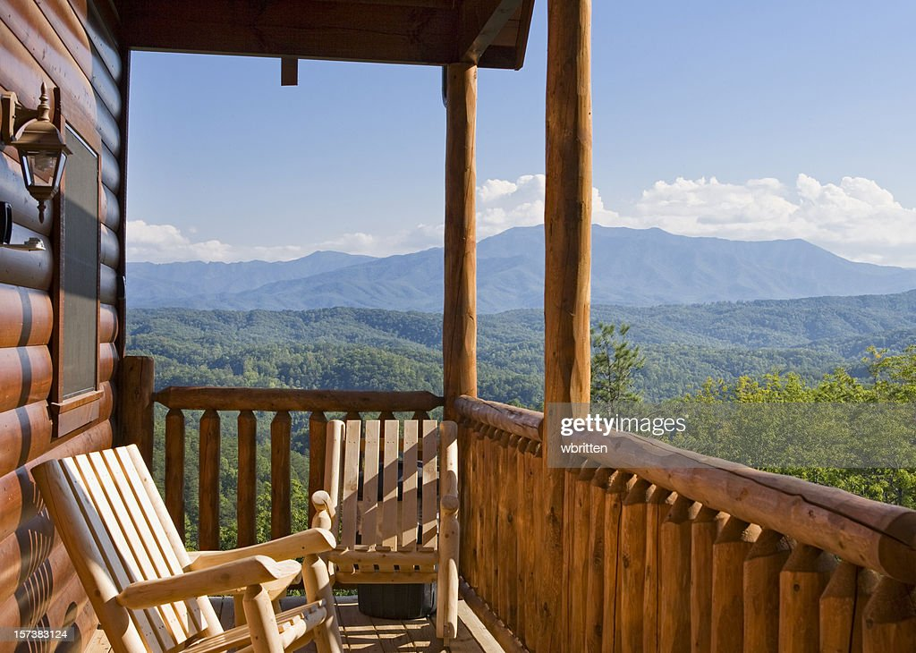 Rocking Chairs On The Patio Outside A Mountain Cabin. RF. The Great Smoky  ...