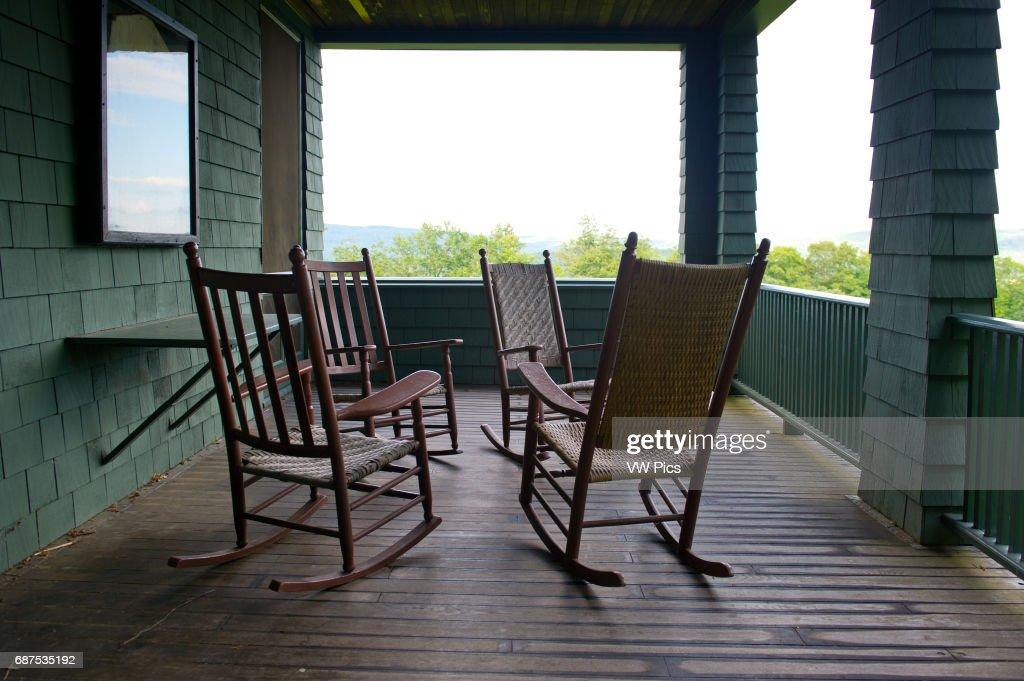Rocking Chairs On Veranda Of Naulakha, Rudyard Kipling House, Brattleboro  Vermont.