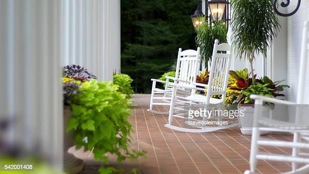 rocking chairs - pot plant stock pictures, royalty-free photos & images