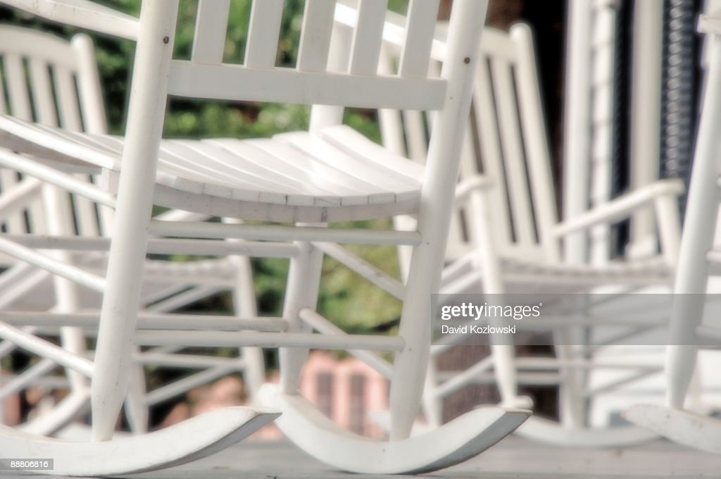 Rocking Chairs White Painted Wooden Texas Porch : Stock Photo