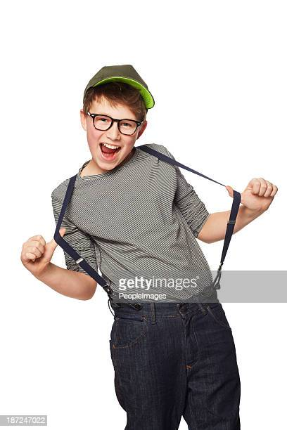rocking his suspenders - suspenders stock pictures, royalty-free photos & images