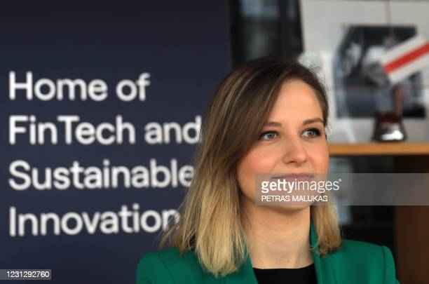 Rockit CEO Sarune Smalakyte looks on during an interview with AFP at the offices of the Rockit workspace for FinTech founders, in Vilnius on February...