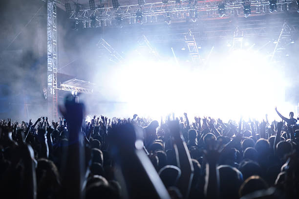 """""""Rock'n'roll gig (rock concert), multiple people silhouettes hand"""""""