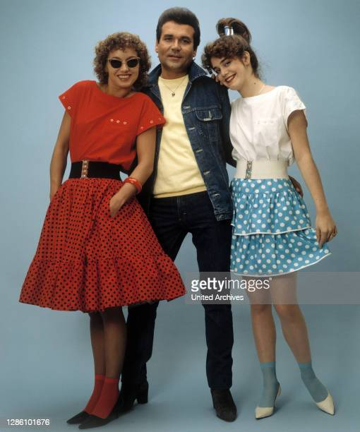 Rock'n'Roll-Sänger, mit Girls, 80er Jahre. / Porträt, Musik, Sänger, Musiker, Rock'n'Roll, 80er.