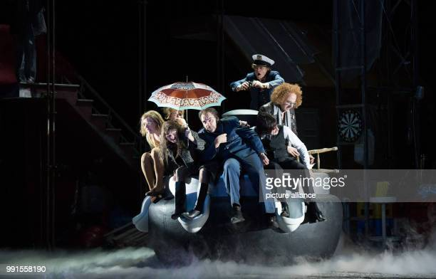 Rocko Schamoni Jacques Palminger Michael Weber Charly Hubner Rica Blunck and Lina Beckmann performing onstage during a photo rehearsal of the play...