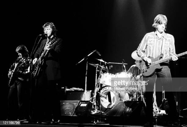 Rockpile perform on stage in New York, August 1979, L-R Billy Bremner, Dave Edmunds, Nick Lowe.