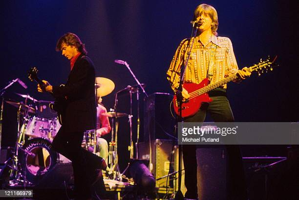 Rockpile perform on stage in New York, August 1979, L-R Dave Edmunds, Nick Lowe.