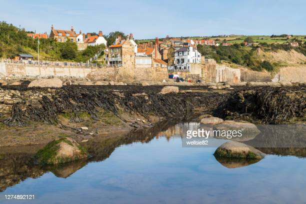 rockpools in front of robin hoods bay - bay of water stock pictures, royalty-free photos & images