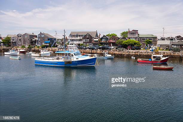 Rockport Harbor with Fishing Boats and Houses