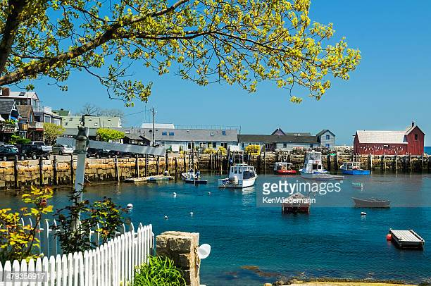 rockport harbor-spring - massachusetts stock pictures, royalty-free photos & images