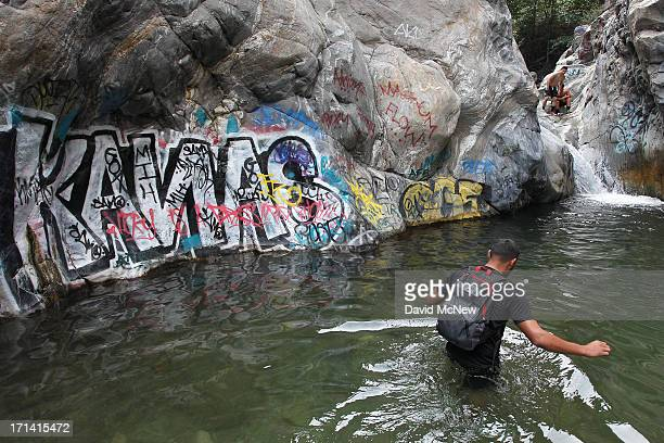 Rocks and cliffs are covered with graffiti near Sapphire Falls in Cucamonga Canyon on June 23 2013 in the Angeles National Forest near Rancho...