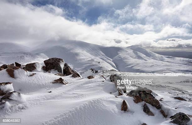 rocks and snow on the mountain - 巨礫 ストックフォトと画像