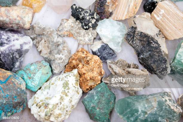 rocks and stones sold by traders in namibia - mineral stock pictures, royalty-free photos & images