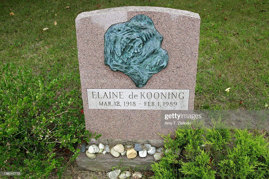 Rocks are left at the grave of American abstract expressionist artist Elaine de Kooning (1918 - 1989), wife of artist Willem de Kooning, at Green River Cemetery in the hamlet of Springs, East Hampton, New York, 12th August 2009.