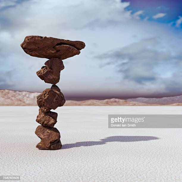 rocks balancing in desert - possible stock pictures, royalty-free photos & images