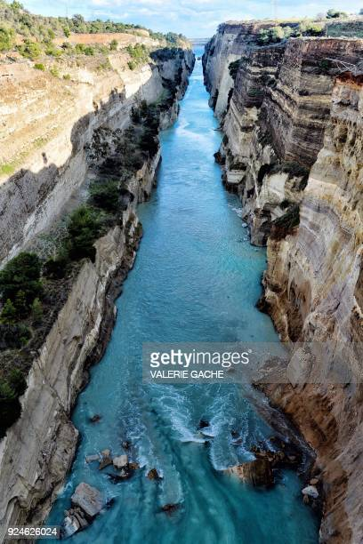Rocks block the corinth canal near the city of Corinth after a landslide on February 26 2018 A landslide shut down Greece's Corinth canal on February...
