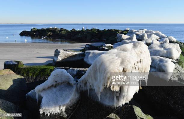 Rocks covered in ice are seen on Coney Island Beach on a cold winter day in New York on January 22 2019 The hight temperature in New York was about...