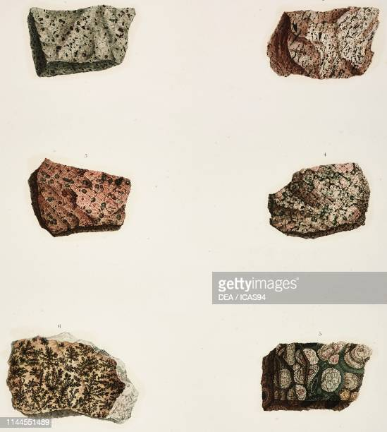 Rocks found at Mount Sinai Mineralogy plate by FrancoisMichel de Roziere colored engraving by Boquet Allais and Lambert from Description de l'Egypte...