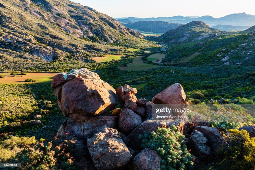 Rocks in grassy field in remote landscape : Foto stock