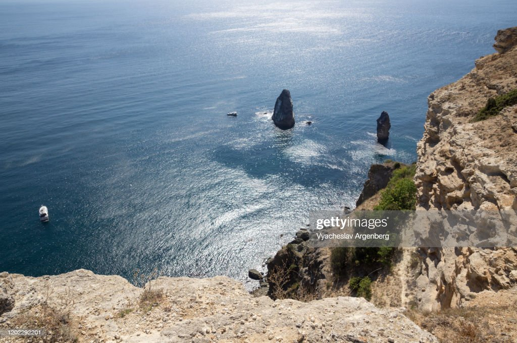 Rocks in the sea, Cape Fiolent, Crimea : Stock Photo