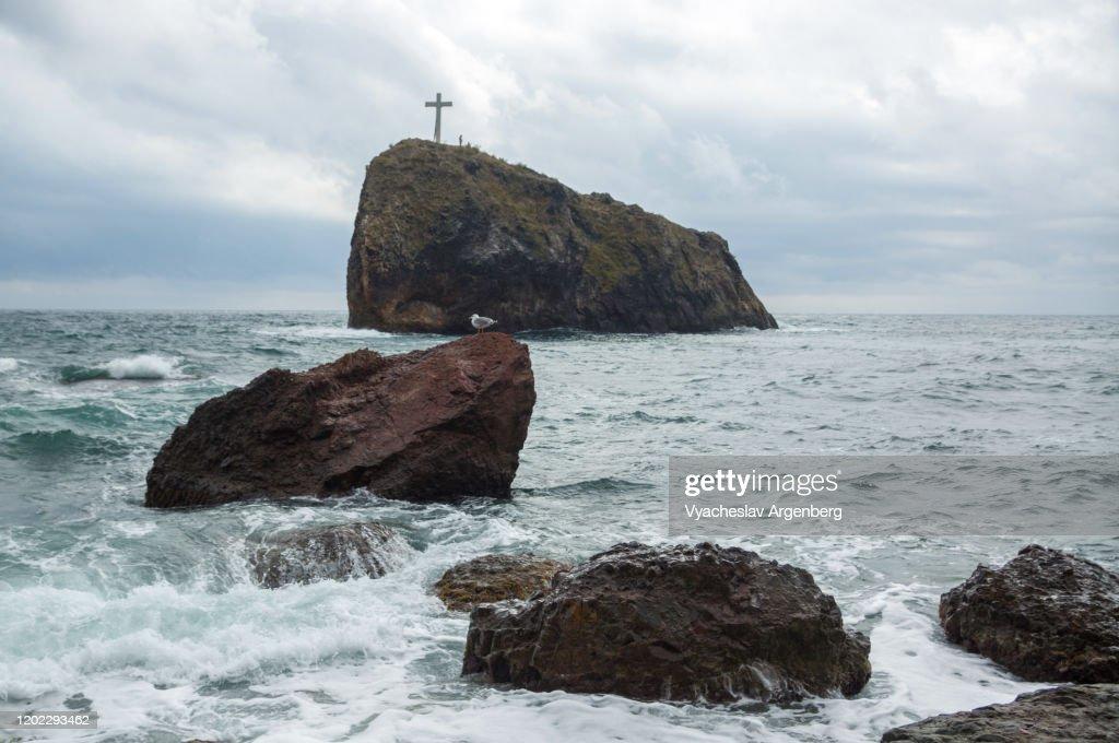 Rocks in the sea, Cape Fiolent, Crimea : Stock Photo