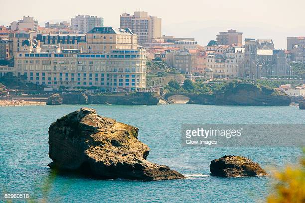rocks in the sea, le bellevue, grande plage, biarritz, france - biarritz stock pictures, royalty-free photos & images