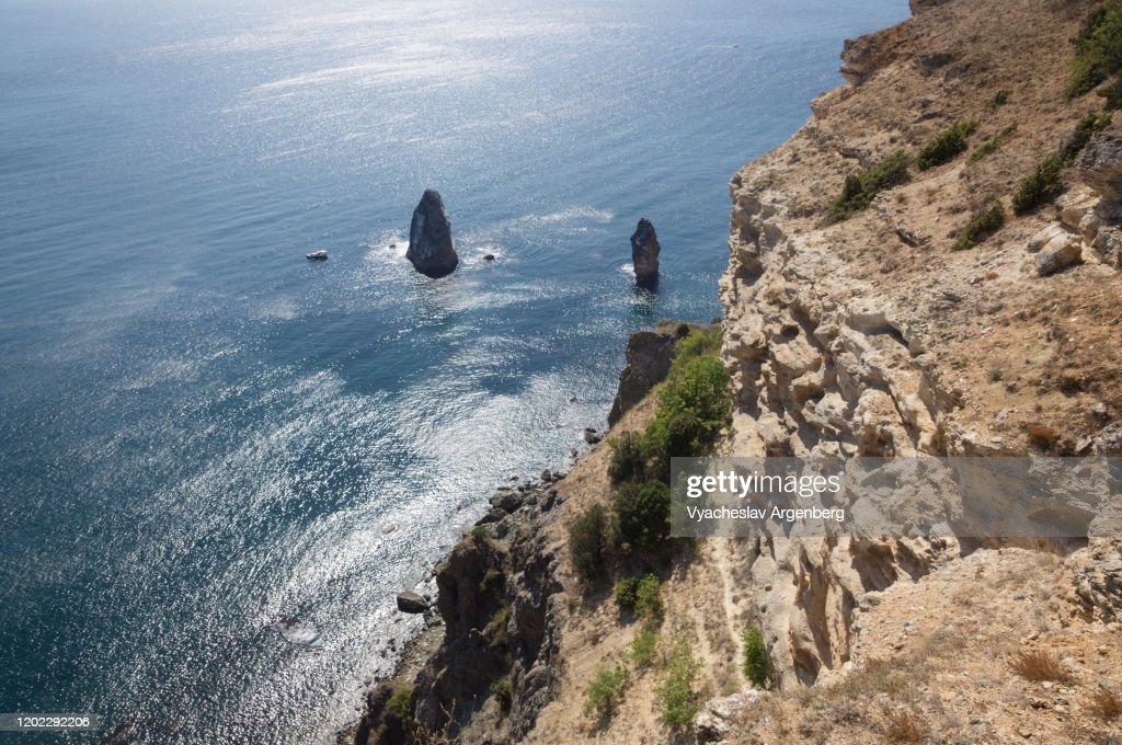 Rocks in the sea, rocky coastline, Cape Fiolent, Crimea : Stock Photo