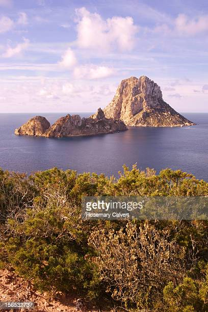 Rocks of Es Vedra and Es Vedranell with vegetation