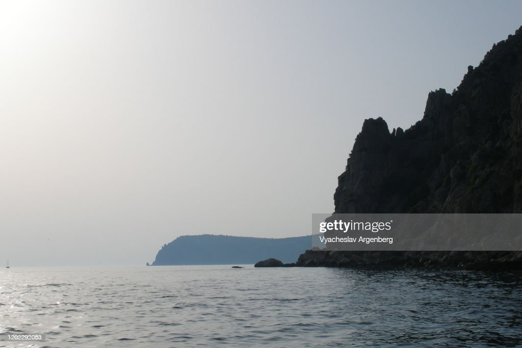 Rocks of Fiolent Cape by the sea, Black Sea, Crimea : Stock Photo
