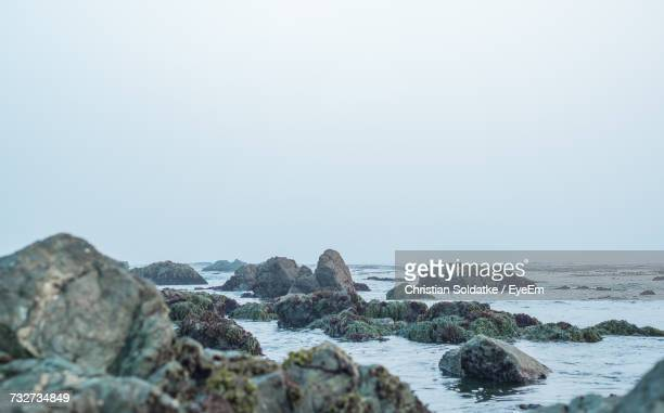 Rocks On Beach Against Foggy Sky