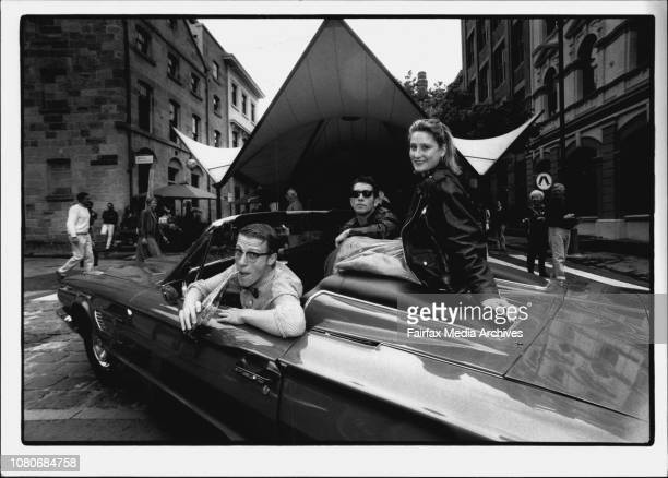 Rocks Rock 'N Roll Day Lead up to SundayFrom left to right Simon Stollery Tony Cogin Nikki Ireland sitting in 1965 Thhunderbird Down St at the Rocks...
