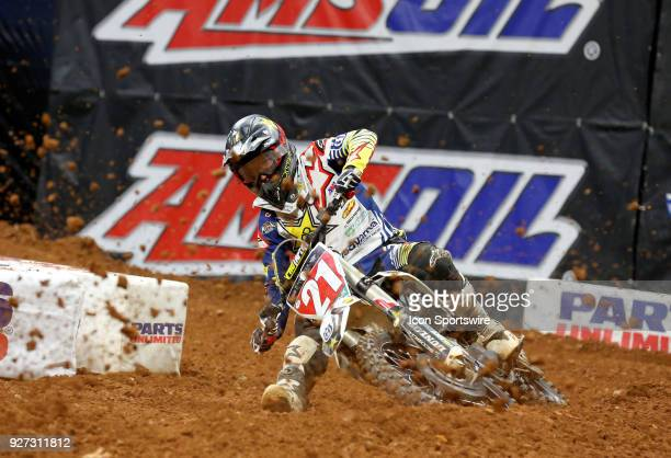 Rockstar Energy Husqvarna 450cc rider Jason Anderson rails a turn during the Monster Energy AMA Supercross race on March 03 2018 at the MercedesBenz...
