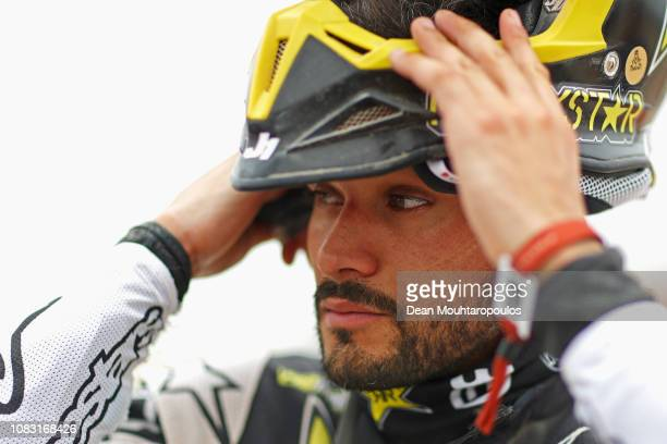 Rockstar Energy Husqvarna Factory Racing No 6 Motorbike ridden by Pablo Quintanilla of Chile looks on after he competes in the desert during Stage...