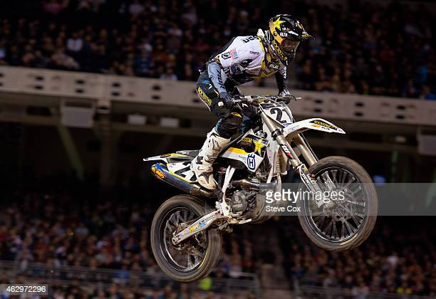 Rockstar Husqvarna's Jason Anderson finished 10th at the Monster Energy Supercross at Petco Park on February 7, 2015 in San Diego, California.