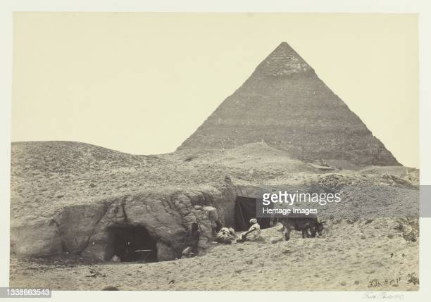Rock-Tombs and Belzoni's Pyramid, Gizeh, 1857. [Italian archaeologist Giovanni Battista Belzoni was the first European to penetrate the Pyramid of...
