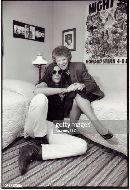 Radio personality Howard Stern poses with his mother Ray Stern in his old bedroom in Rockville Centre New York on September 23 1993 The family moved...