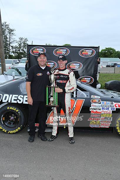 Rockwell/Golden Gate Meat/Bay Bio Chevrolet Driver Michael Self celebrates with his team after winning the KN West Pro Series Brainerd 125 race at...