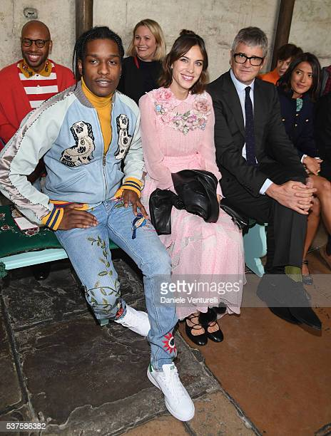 ASAP Rocky Alexa Chung Jay Jopling and Hikari Yokoyama attend the Gucci Cruise 2017 fashion show at the Cloisters of Westminster Abbey on June 2 2016...