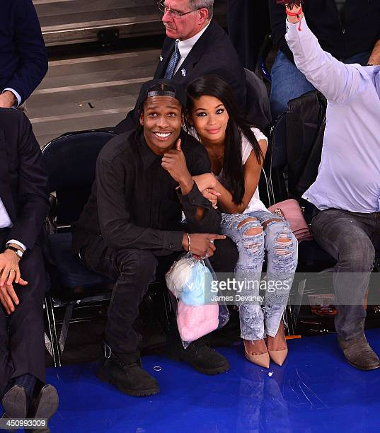 Rocky and Chanel Iman attend the Indiana Pacers vs New York Knicks game at Madison Square Garden on November 20 2013 in New York City