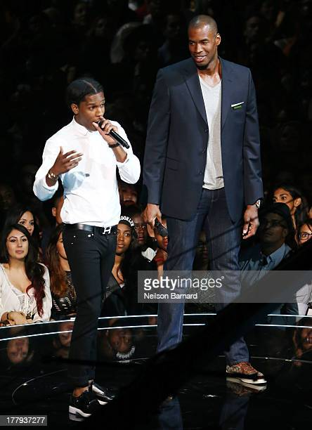 Rocky and Jason Collins speak onstage during the 2013 MTV Video Music Awards at the Barclays Center on August 25 2013 in the Brooklyn borough of New...