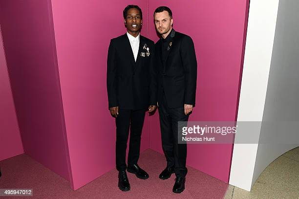 Rocky and Kris Van Assche Dior attend the 2015 Guggenheim International Gala Dinner made possible by Dior at Solomon R Guggenheim Museum on November...